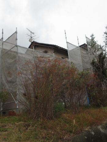 香川、岡山、創拓、リフォーム、施工中、足場、ベランダ、外壁、屋根、塗装、樹脂、シリコン