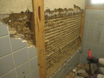 タイルの壁と床を破壊して基礎を作り、クロスを張ります。